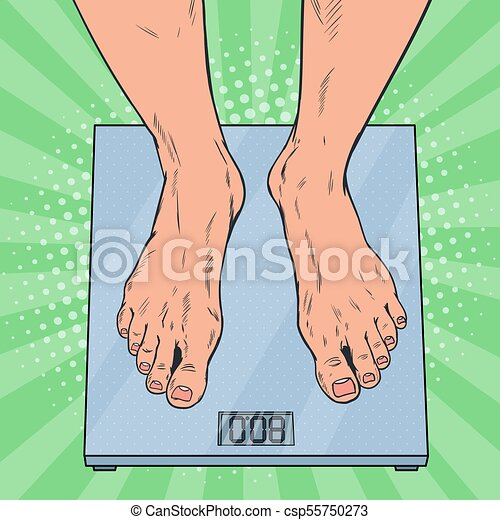 Pop Art Male Feet On Weighing Scales Man Measuring Body Weight Vector Il Ration