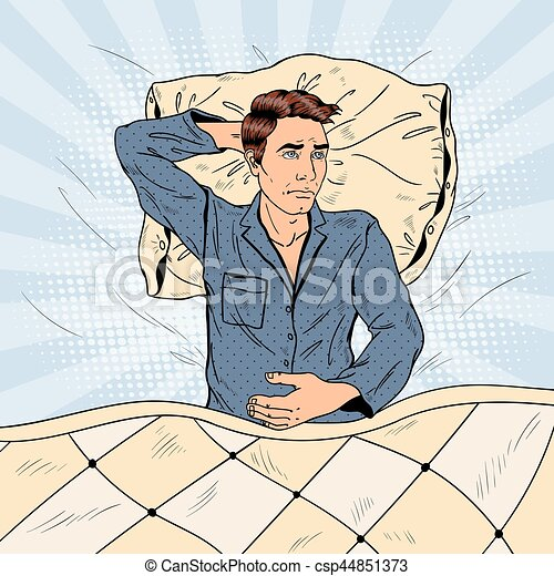 Pop Art Man in Bed Suffering Insomnia and Sleeplessness. Vector illustration - csp44851373