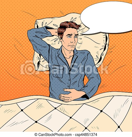 Pop Art Man in Bed Suffering Insomnia and Sleeplessness. Vector illustration - csp44851374