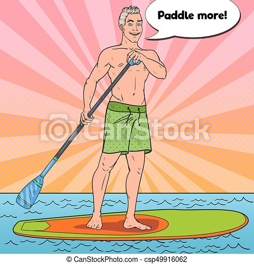 Pop Art Man Paddling On Stand Up Paddle Board Sup Watersport The Sea Vector Illustration