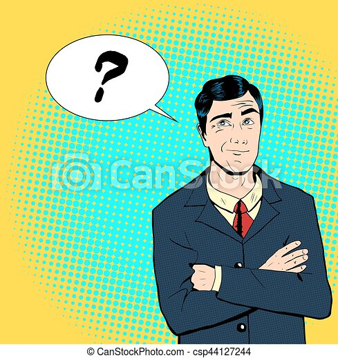 Pop art man thinking vector business man in a suit crossing hands pop art man thinking csp44127244 solutioingenieria Choice Image