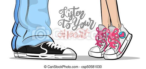 buy cheap 6177d 67988 pop art man woman sneakers kiss love cute