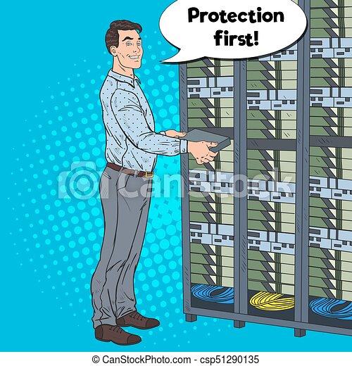Pop Art Network Engineer in Hardware Data Center  Technicianin Build Server  Database  Vector illustration