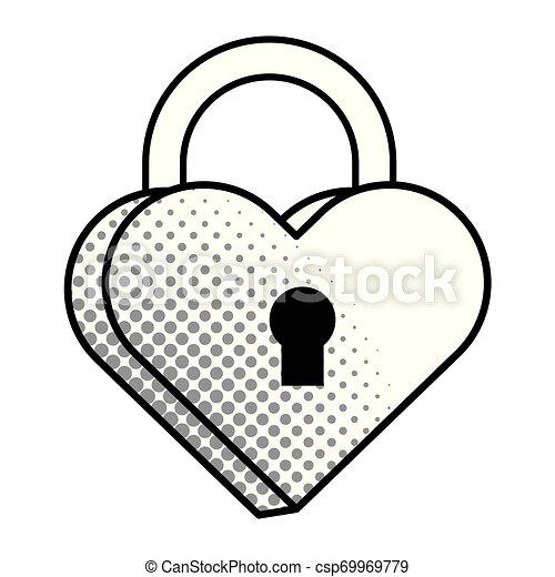 Pop art padlock heart shape in black and white - csp69969779