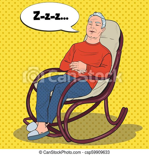 Surprising Pop Art Senior Man Sleeping In Chair Grandfather Resting In Armchair Vector Illustration Squirreltailoven Fun Painted Chair Ideas Images Squirreltailovenorg
