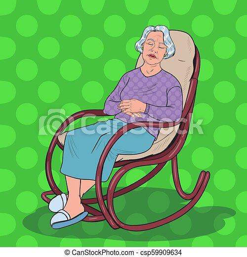Pleasant Pop Art Senior Woman Sleeping In Chair Grandmother Resting In Armchair Vector Illustration Creativecarmelina Interior Chair Design Creativecarmelinacom