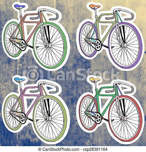 Pop art stickers set. Hand drawing retro bicycle. Vector illustration - csp28391164