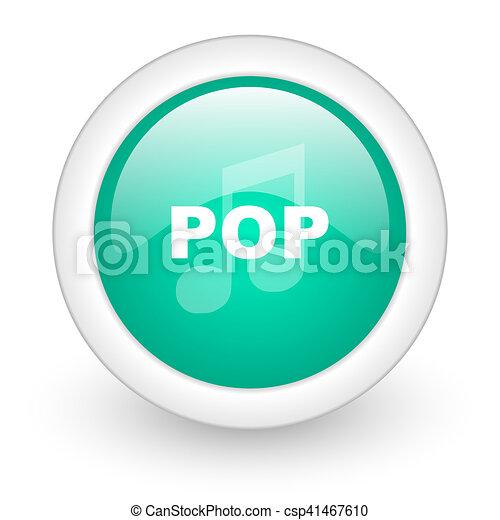pop music round glossy web icon on white background - csp41467610