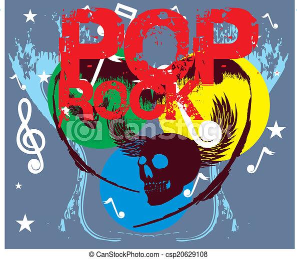 pop rock and skull vector art - csp20629108
