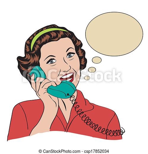 Popart comic retro woman talking by phone - csp17852034