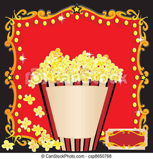 Popcorn and a movie birthday party invitation with red marquee popcorn and a movie birthday party csp8650768 stopboris Images