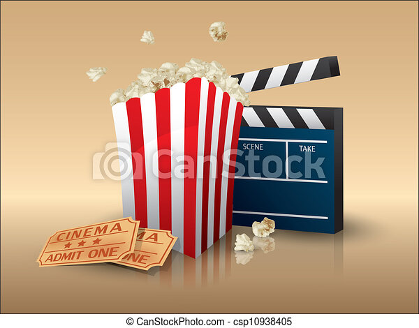 Popcorn and movie tickets with clapper board - csp10938405