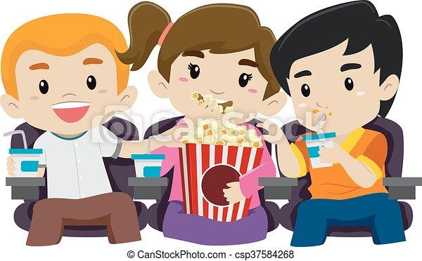Popcorn Film Kinder Essen Aufpassen Kinder Essen Aufpassender