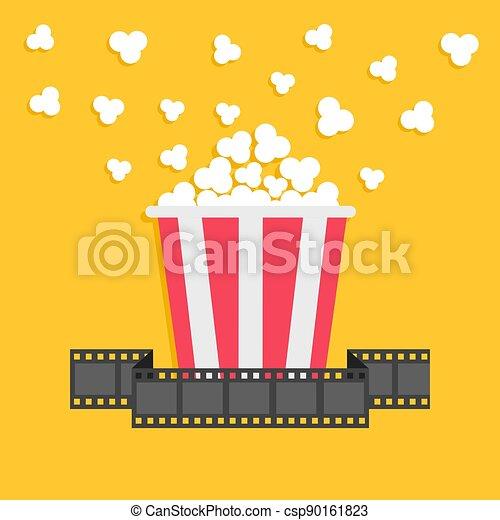 Popcorn. Film strip ribbon. Red yellow box. Cinema movie night icon in flat design style. - csp90161823