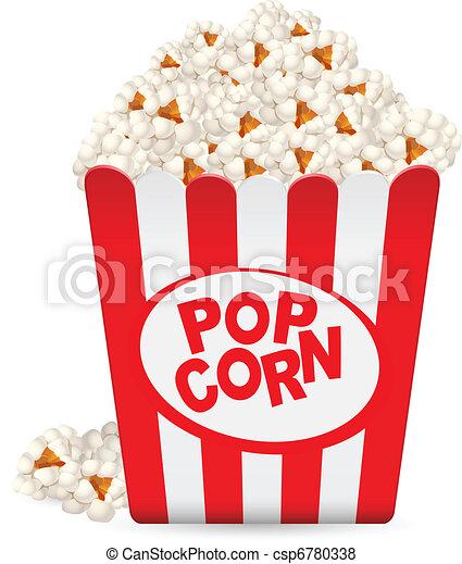 Popcorn in einer gestreiften Wanne - csp6780338