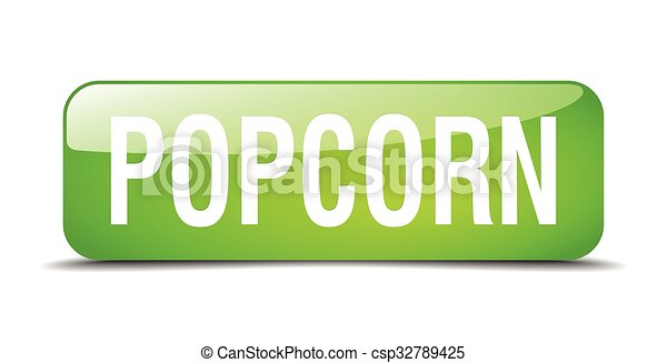 popcorn green square 3d realistic isolated web button - csp32789425