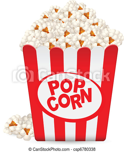 Popcorn in a striped tub  - csp6780338