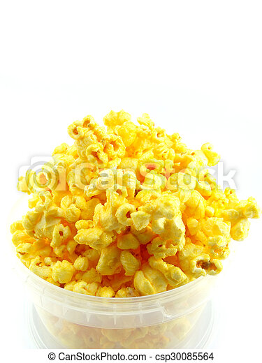 popcorn in box isolated on white background - csp30085564