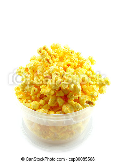 popcorn in box isolated on white background - csp30085568