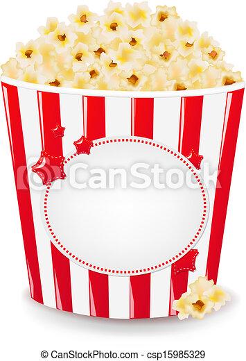 Popcorn In Cardboard Box  - csp15985329