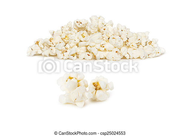 Popcorn pile isolated on white - csp25024553