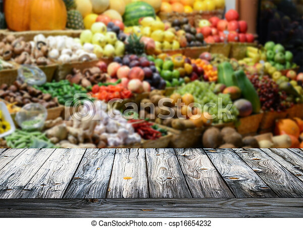 poplamiony, drewniany, warzywa, tło, owoce, stół, opróżniać - csp16654232
