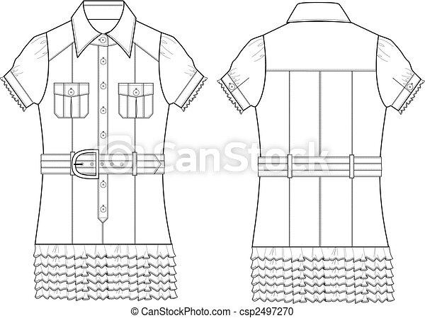 poplin, blouse, dame - csp2497270