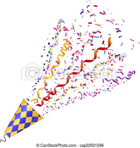 poppers, ve, isolé, arrière-plan., exploser, confetti, blanc - csp22501596