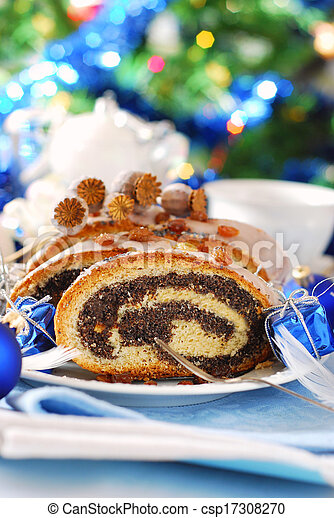 poppy cake with nuts for christmas - csp17308270