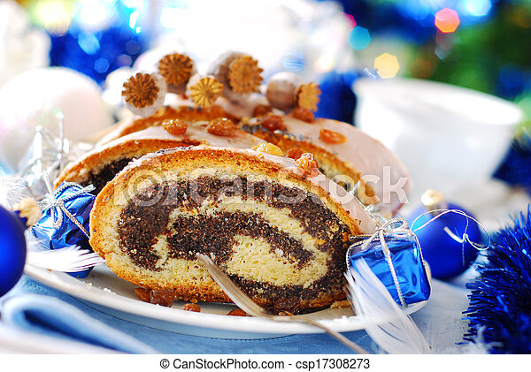 poppy cake with nuts for christmas - csp17308273
