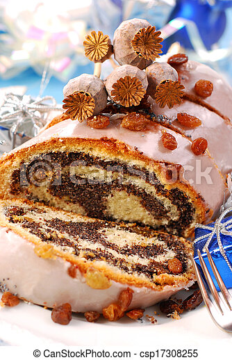 poppy cake with nuts for christmas - csp17308255