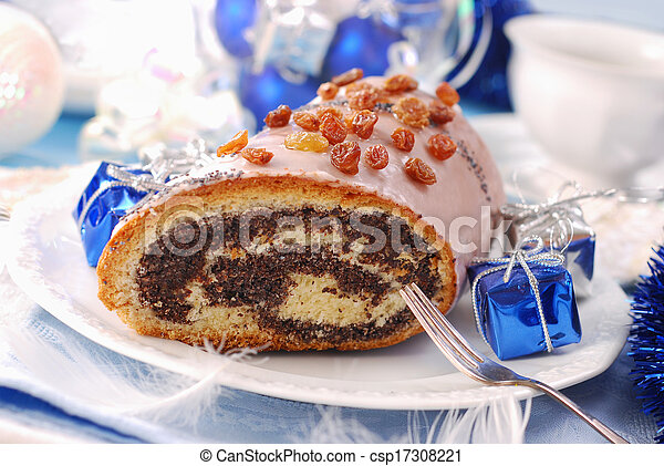 poppy cake with nuts for christmas - csp17308221