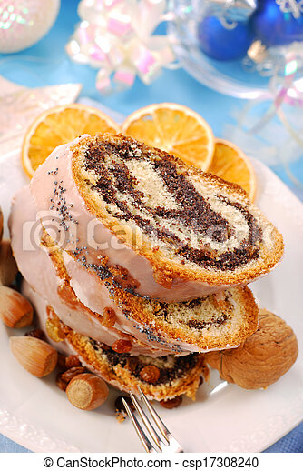 poppy cake with nuts for christmas - csp17308240
