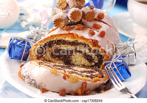 poppy cake with nuts for christmas - csp17308244