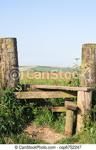 Poppy Field And Country Stile A Country Stile Leading To A Poppy
