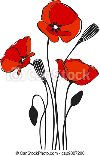 Poppy floral background abstract floral red poppy card vector poppy floral background csp9027200 mightylinksfo