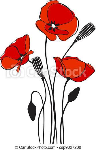 Poppy floral background  - csp9027200