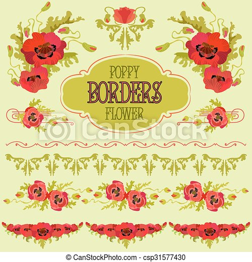 poppy flower border elements set bouquets and garlands and text