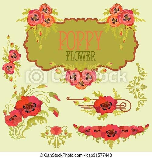 Poppy Flower Design Elements Set Bouquets And Garlands