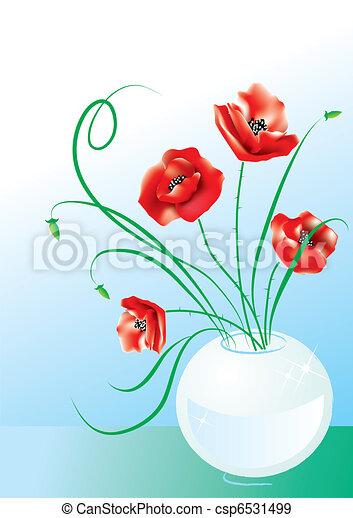 Poppy flowers in vase - csp6531499