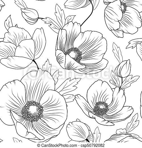 Poppy flowers seamless pattern texture black white poppy flowers poppy flowers seamless pattern texture black white csp50792082 mightylinksfo