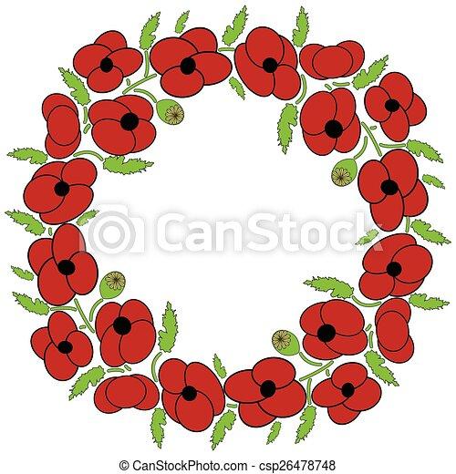 Poppy flowers wreath poppy flowers wreath with leaves and vary poppy flowers wreath csp26478748 mightylinksfo