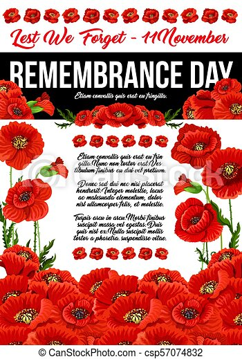 Poppy remembrance day 11 november vector poster poppy flowers poppy remembrance day 11 november vector poster mightylinksfo