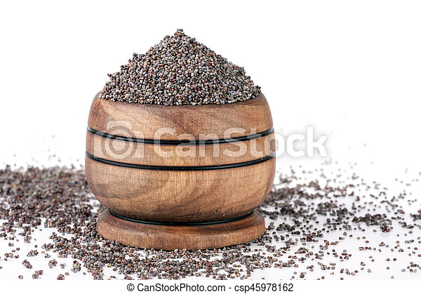 poppy seeds in a wooden spoon isolated on white background - csp45978162