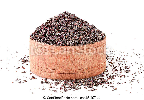 poppy seeds in a wooden spoon isolated on white background - csp45197344