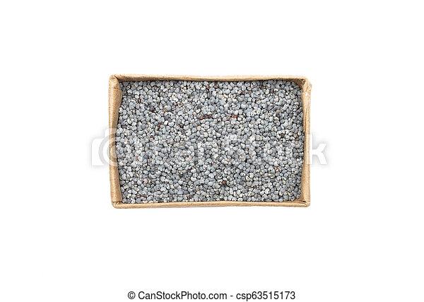 Poppy seeds in carton on white background - csp63515173