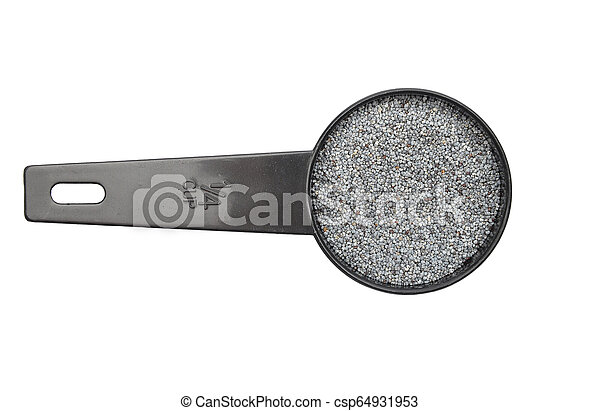 Poppy seeds in measuring spoon on white background - csp64931953