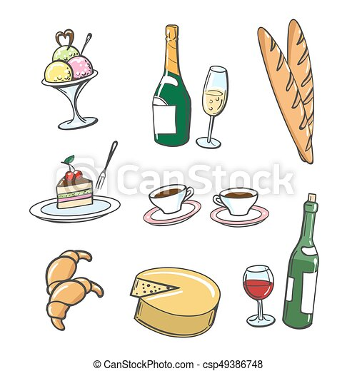 Popular french food and drinks. Hand drawn dessert food ...