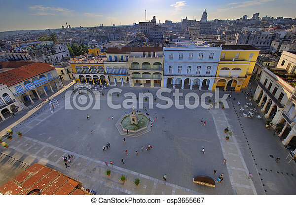 Popular Plaza Vieja in Old Havana, cuba - csp3655667