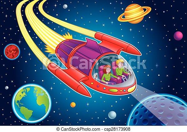 Adolescentes volando por el espacio exterior - csp28173908